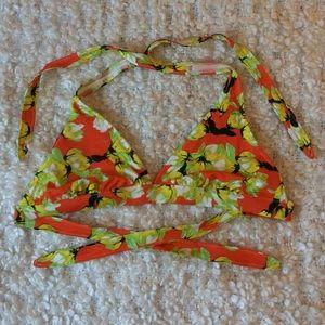 floral tie up triangle bikini top